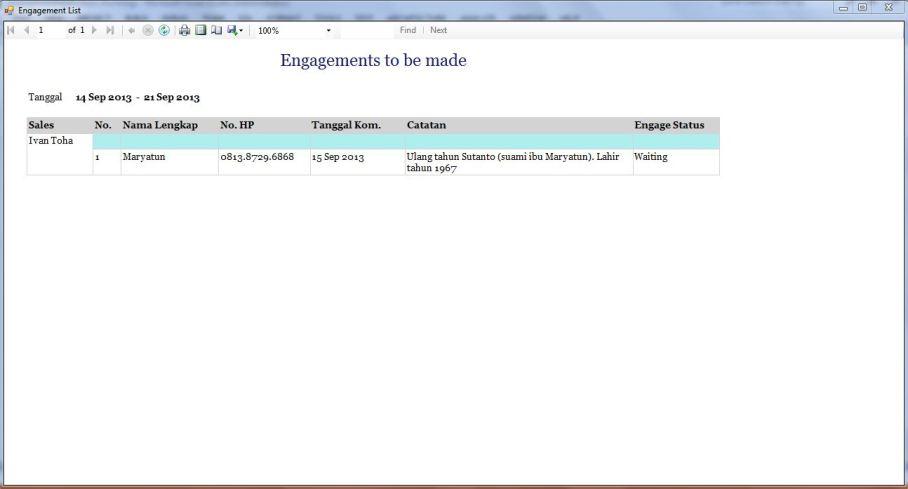 Engagement List